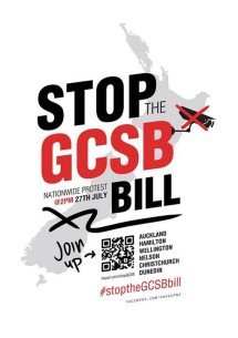 Stop GCSB Bill protest 27 July 2013 poster