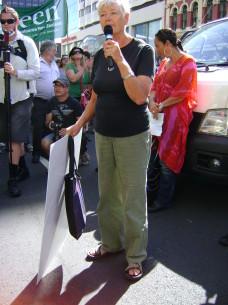 Jeanette Fitzsimons outside US embassy