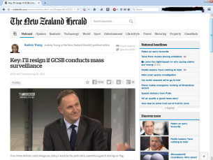 john key I will resign if the GCSB conducts mass surveillance