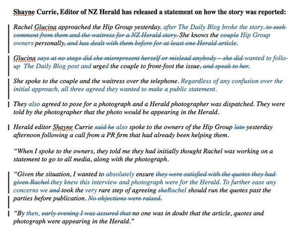 Herald track changed version Glucina statement