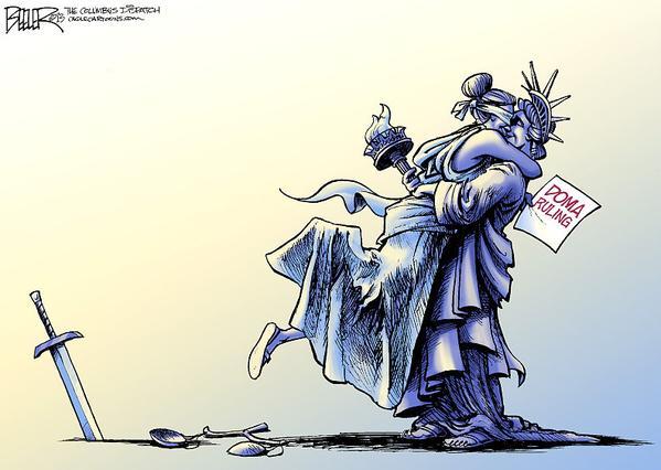 US Supreme Court gay marriage cartoon statute of liberty