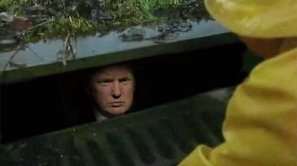 Donald Trump down the drain