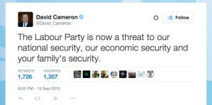 Cameron hysterical tweet
