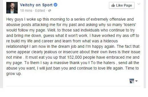 Tony Veitch facebook comment