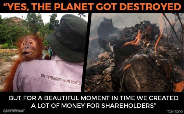 Greenpeace planet destroyed for shareholders