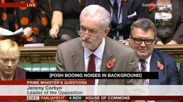 Jeremy Corbyn posh booing noises in background