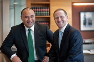 MP for SERCO, Sam Lotu-Iiga, chats with John Key after graduating from the Simon Lusk School of Politics.