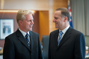 The Minister of Mopping Up, Todd McClay, with the Minister of Fucking Up, John Key.