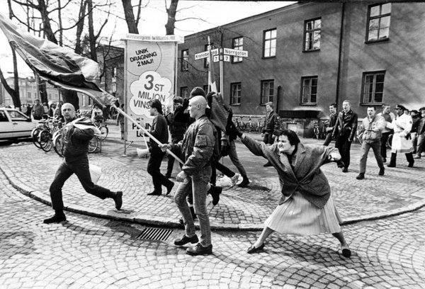 Swedish woman attacks neo facist
