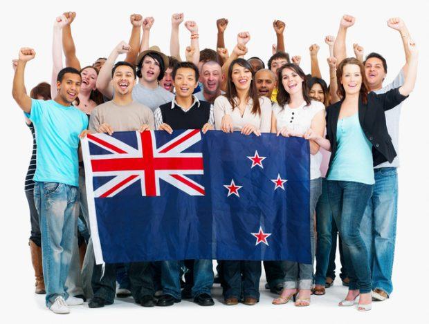Group of people holding Australian flag
