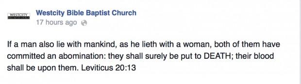 Westcity Baptist Church anti gay rant